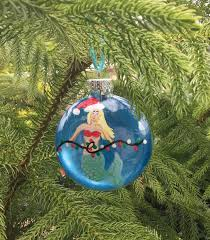 mermaid christmas ornament hand painted glass ornament beach