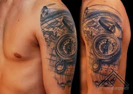 tattoo compass realistic breathtaking very realistic detailed nautical compass tattoo on