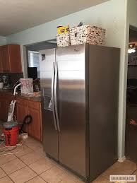 gap between fridge and cabinets our low budget kitchen remodel before after hannah bunker
