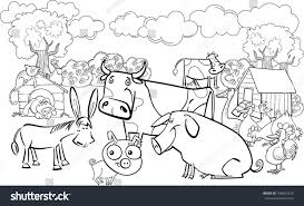 cartoon illustration farm animals group coloring stock vector