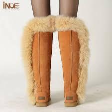 womens sheepskin boots size 11 shop inoe womens fur boots sheepskin leather overknee