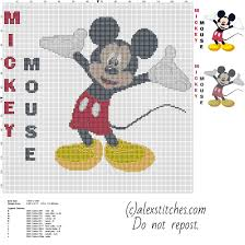 disney mickey mouse character with text name big size cross stitch