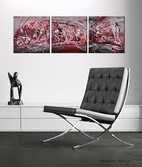 Tableau Abstrait Rouge Et Gris by Tableau Triptyque Abstrait Rouge Noir Blanc Moderne