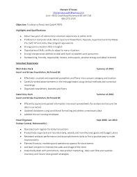 Clerical Job Resume by Job Clerical Job Resume