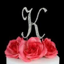 k cake topper letter k cake topper monogram 5 inch silver rhinestone