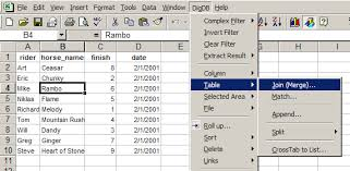 join merge tables lists by columns match in excel excel