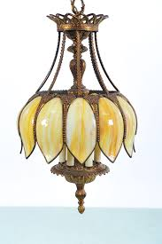 Ebay Ceiling Light Fixtures by Vintage Hanging Slag Glass U0026 Brass Chandelier In Collectibles
