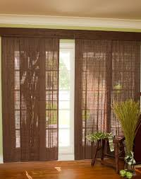 brown natural fabric curtain for sliding glass door with white