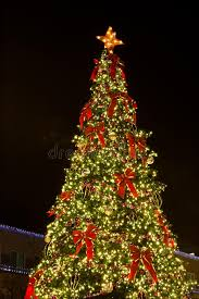 lighted christmas tree lighted christmas tree against sky stock photo image of