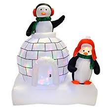 Amazon Uk Outdoor Christmas Decorations by New Giant 5ft Inflatable Penguins U0026 Igloo With Multi Colour Moving