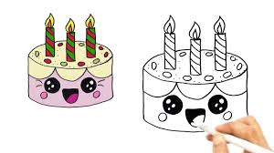 how to draw a cute birthday cake very easy hde youtube