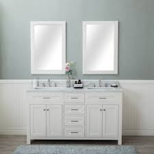 White Bathroom Vanity With Carrera Marble Top by Vinnova Gela 60 Inch White Double Vanity With Carrera White Marble