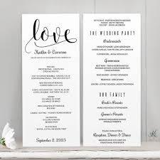 Wedding Ceremony Bulletin Template Program Template Glitz Calligraphy Black Tea Length