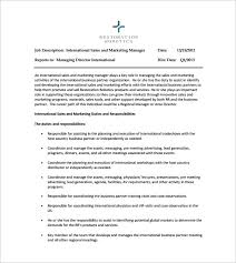 duties of sales and marketing manager sample of job descriptions