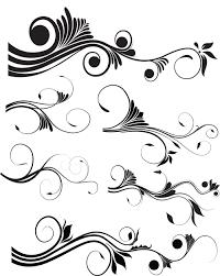 black swirl floral ornaments 4 ai format free vector