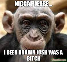 Nigga Please Memes - nigga please i been known josh was a bitch meme chimp 9708