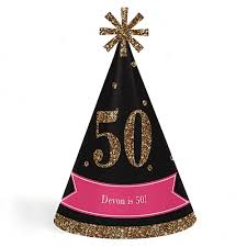 happy birthday hat chic 50th birthday pink black and gold cone happy birthday