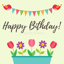 birthday card with birds and flowers stock vector image 69785530