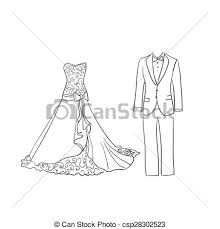 doodle wedding dress and suit excellent vector vector