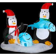 christmas inflatables gemmy 4 6 ft h animated penguins fishing 35146x
