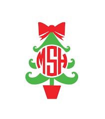 monogram christmas christmas tree monogram decal