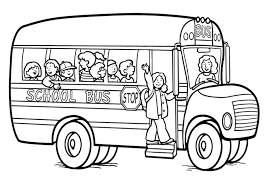 bus coloring page at children books online