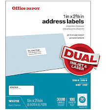 office depot brand white inkjetlaser address labels 1 x 2 58 box