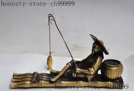 siege pecheur de noël chinois bronze pêcheur vieux personnes siège bambou bateau