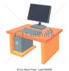 bureau dessin icône style dessin animé bureau toile illustration