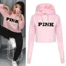 pink clothing fashion pink printing hoodies sweatshirts jumper crop top coat