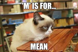Mean Kitty Meme - m is for mean grumpy cat lunch quickmeme