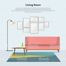 home interior vector home interior design modern living room with pink sofa vector