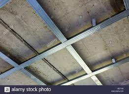Drop Ceiling Installation by Suspended Ceiling Structure Before Installation Of Gypsum Stock