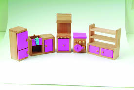 le wooden toy dolls house with furniture