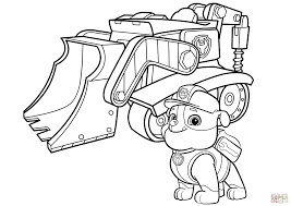 paw patrol rubble u0027s bulldozer coloring page free printable