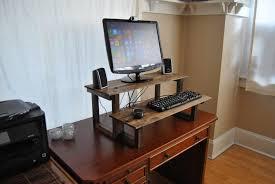 standing desktop computer desk with caster wheels and adjustable