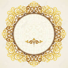 vintage ornate frame in east style golden victorian floral decor