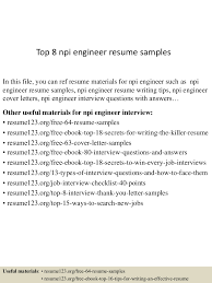 Best Resume Headline For Electrical Engineer by Top8npiengineerresumesamples 150520132431 Lva1 App6891 Thumbnail 4 Jpg Cb U003d1432128316
