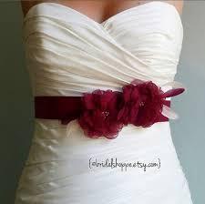 wedding sash belt mallory two burgundy flowers on by bridalshoppe