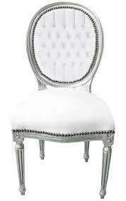 chaise cuir blanc chaise baroque de style louis xvi simili cuir blanc et bois argenté