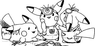minion pikachu pokemon team coloring wecoloringpage