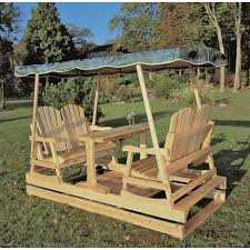 front porch outdoor furniture idea of brown maple glider chairs