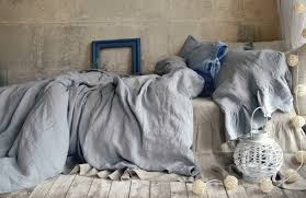 light grey stonewashed luxurious linen duvet cover quilt