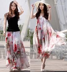 summer dresses women ladies chiffon strapless long skirts floral