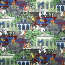 Multi Coloured Upholstery Fabric Upholstery Fabric Scenic Pattern Cotton Gran Mogol