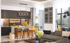 cuisine ouverte sur salon photos plan cuisine ouverte sur salon trendy plan maison chambre salon