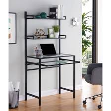 faulkner metal glass small space desk with hutch black aiden