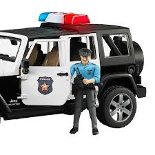 bruder toys jeep rubicon police car with policeman and accessories