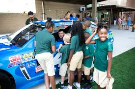 nascar driver kyle larson visits meeting academy in
