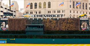 Comerica Park Map 2015 Chevy Heavy Hitters Settle Atop Fountain In Comerica Park